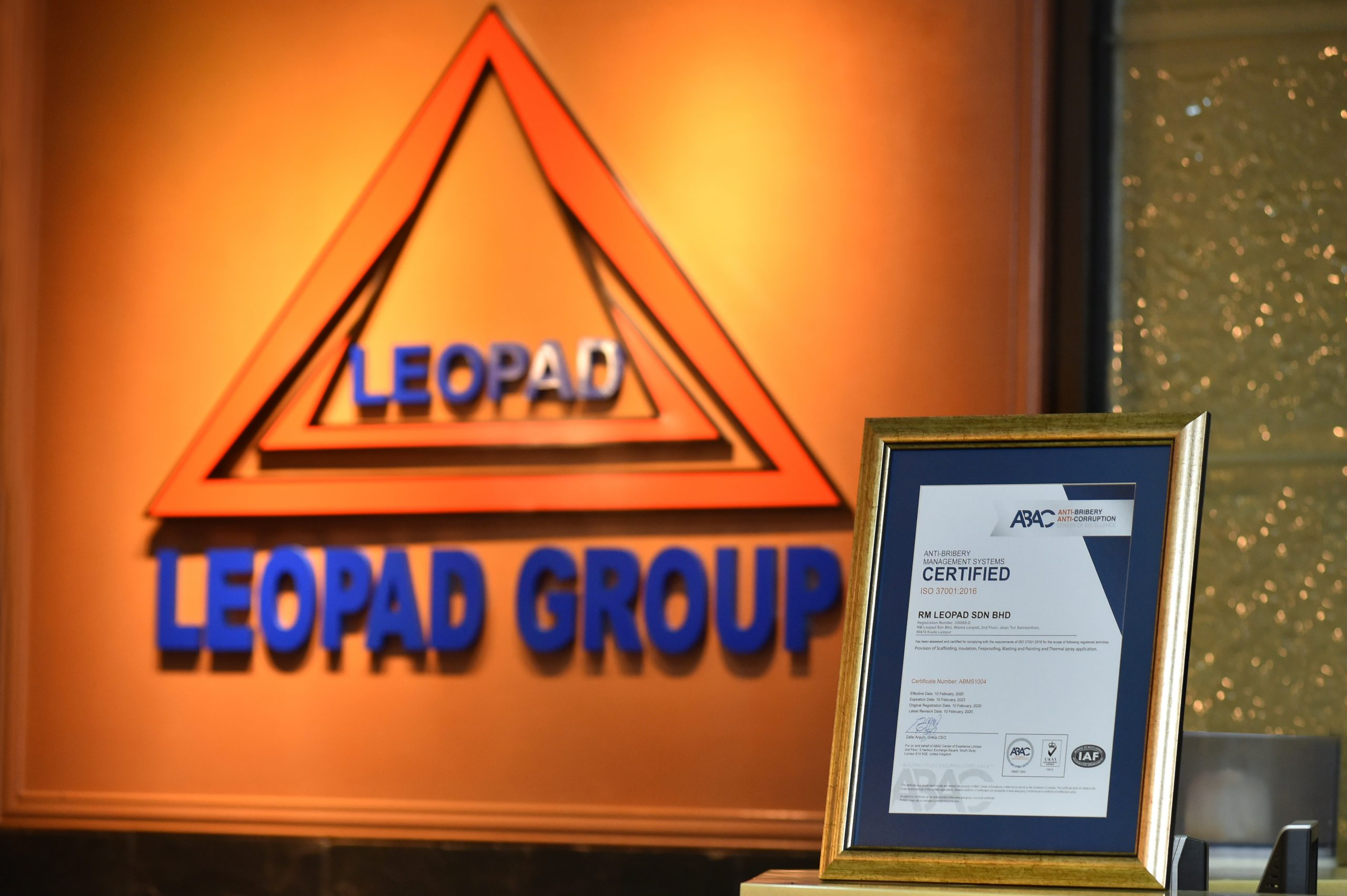 RM Leopad Sdn Bhd awarded with ISO 37001 ABMS certification with ABAC